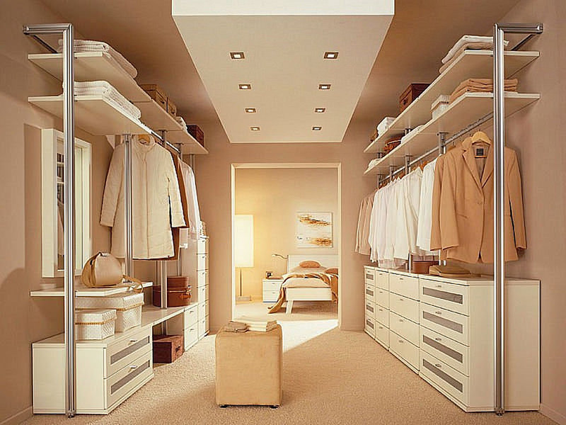 Chic Walk In Closet Design Ideas Towels Coats Ceiling Lamp