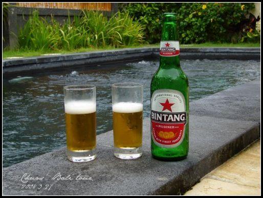 游泳,喝啤酒