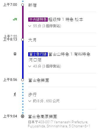 7.新宿→富士急樂園