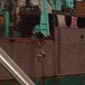 船員一一跳下船,在港裡游泳