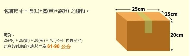 黑貓宅配通包裹尺寸(長+寬+高)61-90公分