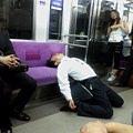 電車累倒睡著的最高境界