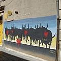 亞耳街頭的鬥牛壁畫
