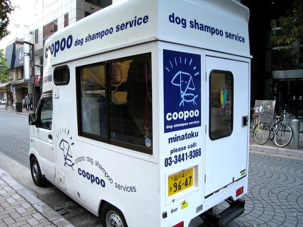週日在麻布十番商店街上看到這部神奇的行動洗狗車,裡面有隻黃金獵犬正當街享受沐浴服務