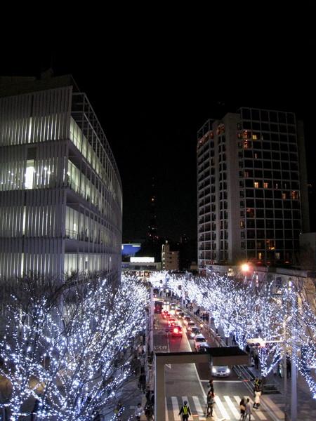 從購物廣場二樓往山坡下拍火樹銀花