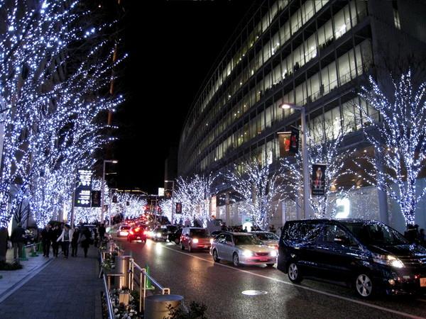每年聖誕期間,六本木Hills的行道樹都會掛滿銀白色的燈泡