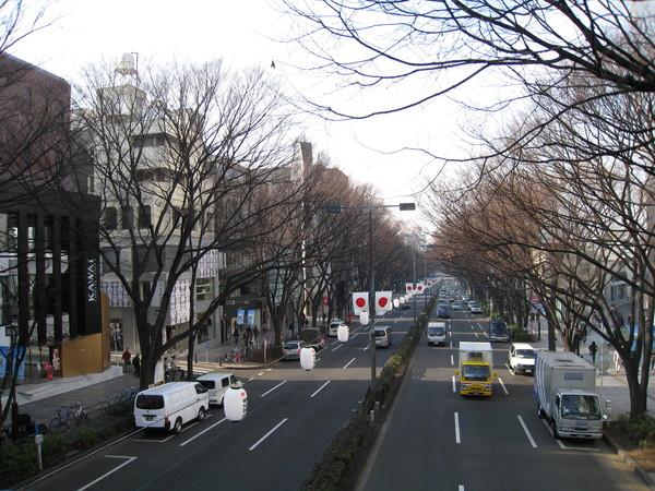 表參道通往明治神宮,因此分隔島上的日本國旗和燈籠都是明治神宮的