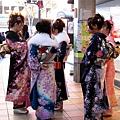 一月第二個禮拜一是成人節,滿街都是穿著「振袖」,剛參加完二十歲成人式的女孩