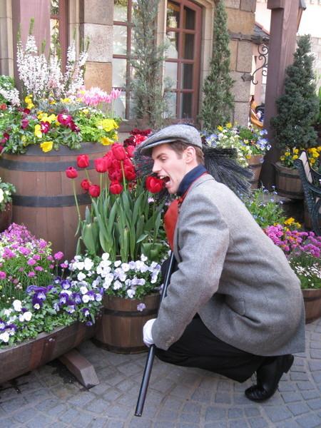 還很聽話的照遊客指示表演吃花 (囧)