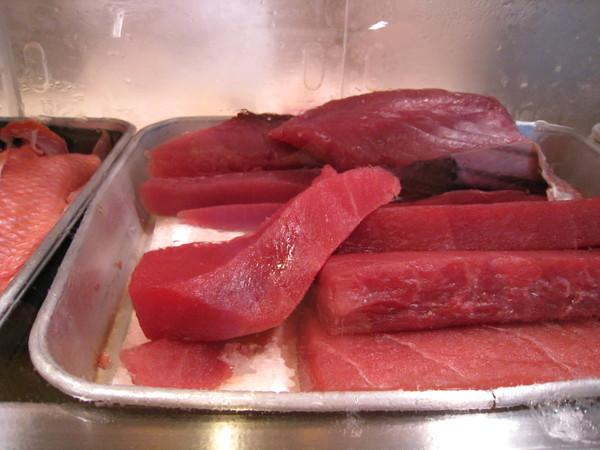 等待師傅捏壽司的空檔,開始拍起眼前的生魚塊