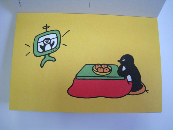 Suica企鵝明信片之二十二:暖桌邊吃橘子看電視