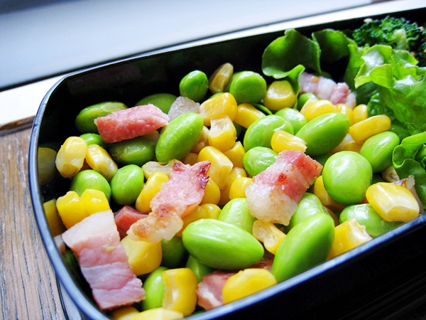 毛豆玉米炒培根