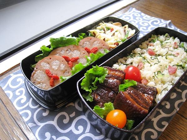 愛妻便當圖解第二十一發:東坡肉、上海菜飯、涼拌白菜心、冰糖蓮藕