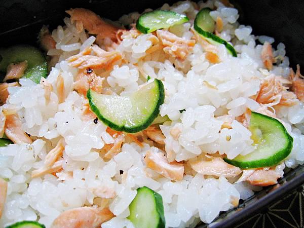 香煎鮭魚黃瓜拌飯