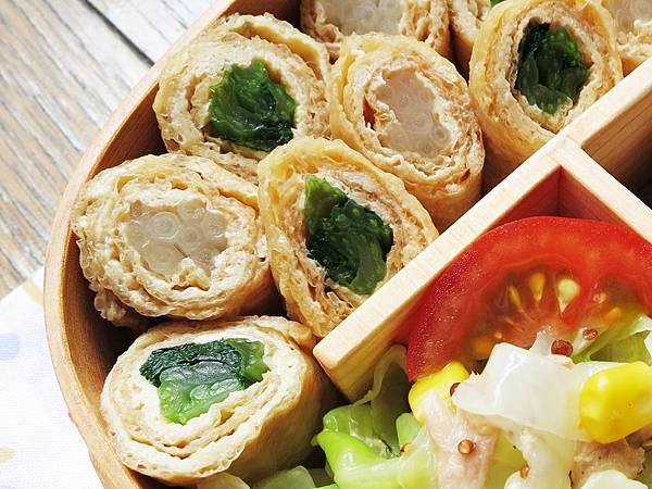 小松菜豆皮捲 + 銀芽豆皮捲