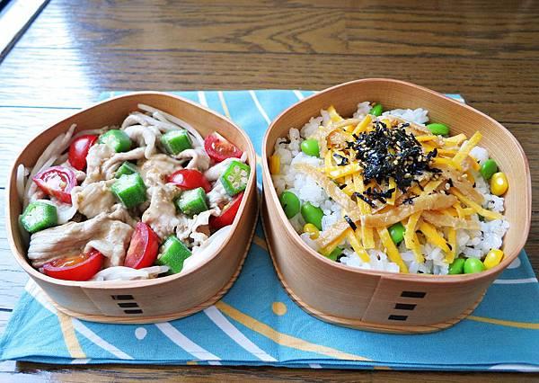 【愛妻便當圖解-51】涮豬肉秋葵番茄沙拉、夏日散壽司