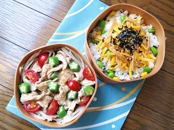 涮豬肉秋葵番茄沙拉、夏日散壽司