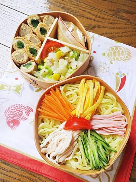中華涼麵、鮮蔬豆皮捲、鮪魚玉米拌高麗菜