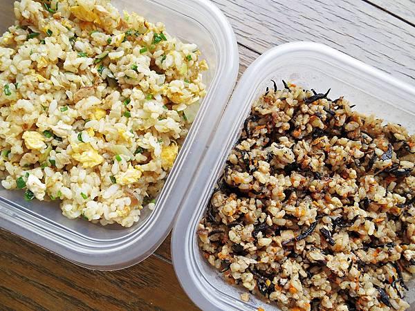 鮪魚洋蔥蛋炒飯  & 羊栖菜胡蘿蔔香菇肉末炊飯