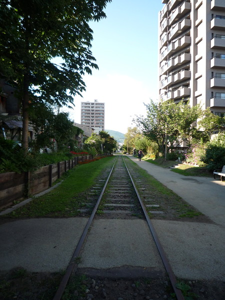 沿著鐵軌牽手散步好悠閒,希望八十歲時還能這樣過生活