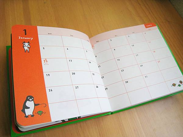 Penguin Diary 2009手札內頁記事欄位