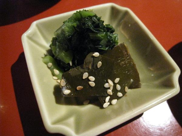 小菜之三:涼拌芝麻昆布和野澤菜