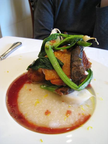大白的主菜:柚香蕪青烤茜鶏。大白說雞肉很香嫩