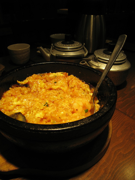 我點的辣味鮮蝦起司玄米石鍋拌飯