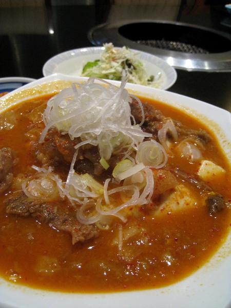 一大碗熱呼呼的蔥花豆腐燉牛肉,牛肉燉得軟爛入味,豆腐也很嫩