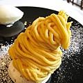 大白的甜點:安納芋蒙布朗,安納芋是一種黃心番薯,甜度剛剛好,不會太膩