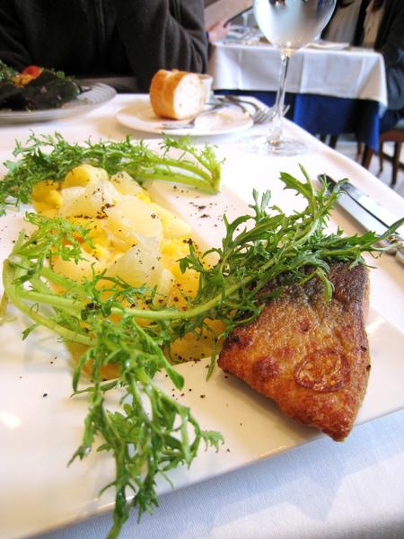 葡萄柚、白蘆筍、洋芋泥的涼拌冷菜非常可口,當主角的魚有點鹹,我反而不愛
