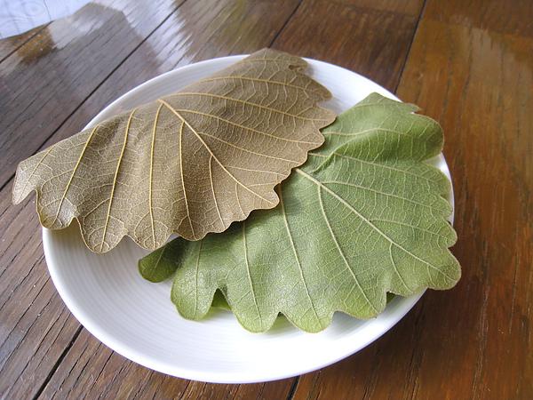 吃柏餅時我問大白:「麻糬和紅豆餡好吃,可是你不覺得葉脈很硬嗎?」大白上網孤狗,這才面有愧色的報告:「欸,原來跟櫻餅不一樣,日本人吃柏餅通常是不吃葉子的。」
