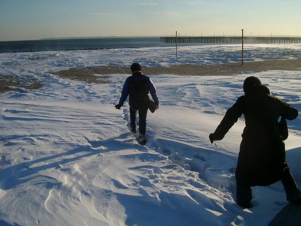 雪中的Coney Island海邊,像極地探險