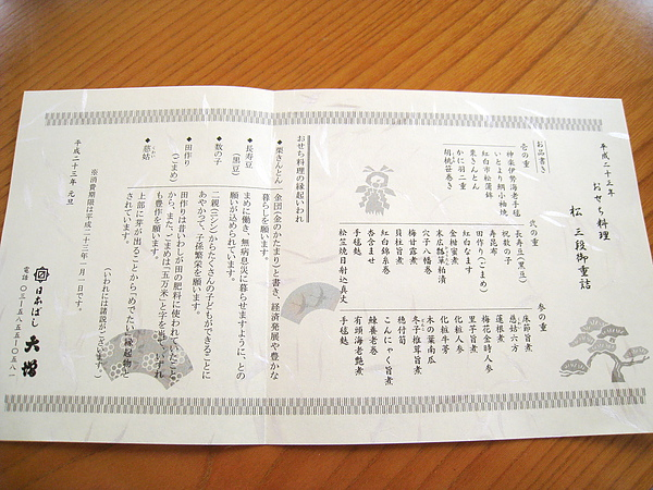 完整的菜單,旁邊附上其中幾道必備年菜的象徵意義