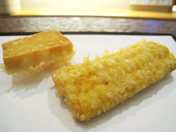天婦羅之一&二:蝦漿天婦羅、玉米。玉米是最讓我和大白驚艷的一品