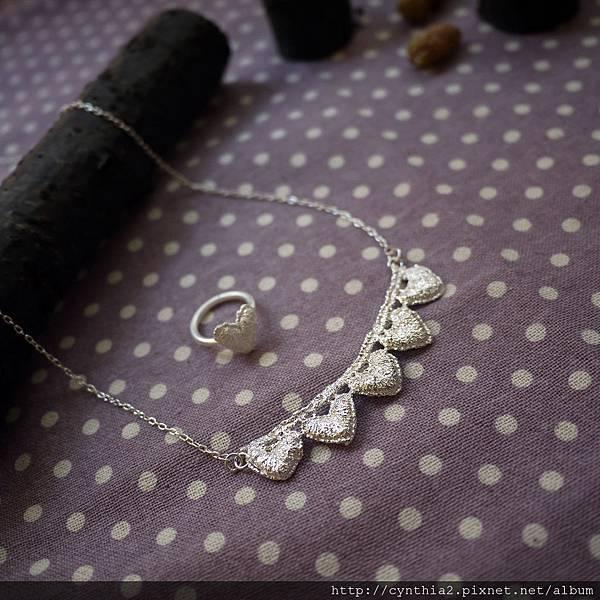 串串純銀蕾絲小愛心長鏈