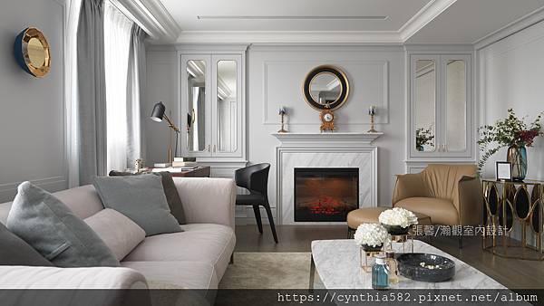 1客廳壁爐暖爐精緻美式優雅室內設計裝修裝潢.jpg