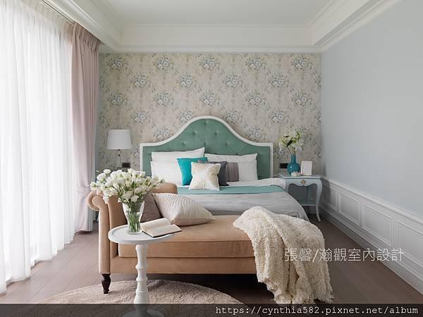 2室內設計裝修裝潢臥房法式壁紙花卉藍綠色美式鄉村現代簡約華麗公主.jpg