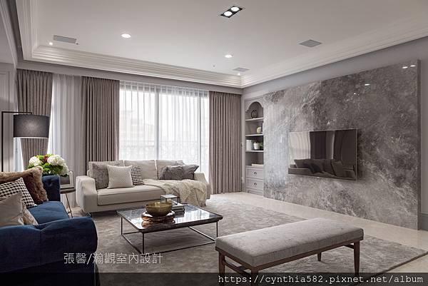 1張馨室內設計風格裝修裝潢地坪石材客廳美式風現代古典鄉村.jpg