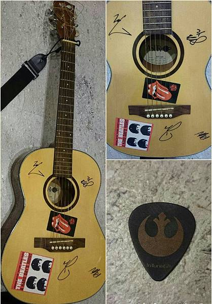 Yellowcard signature guitar and a pick from Ryan Key