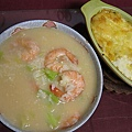 味噌蔬菜蝦子粥+焗烤馬鈴薯