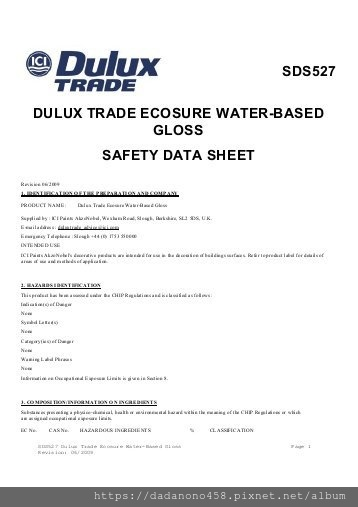 sds527-dulux-trade-ecosure-water-based-gloss-safety-data-sheet