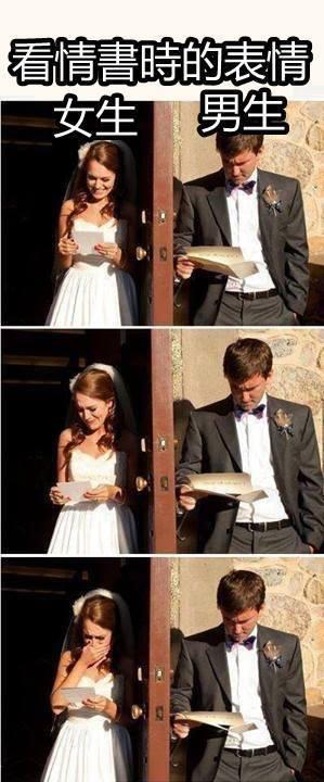 收到情書男人女人的表情