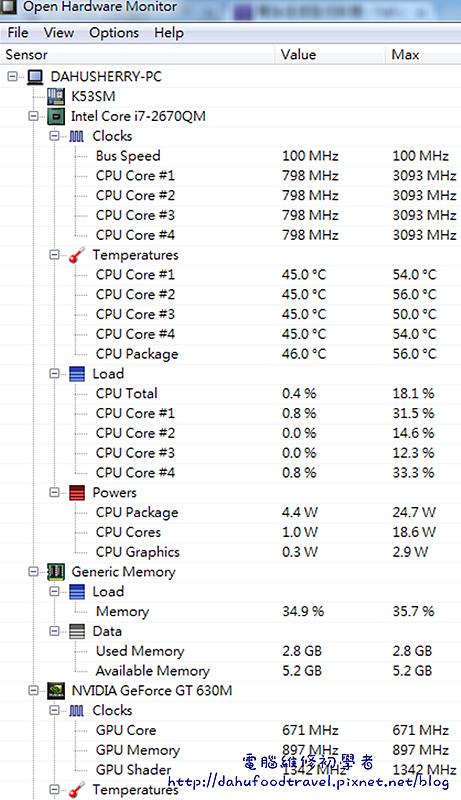 電腦溫度監控軟體OpenHardwareMonitor