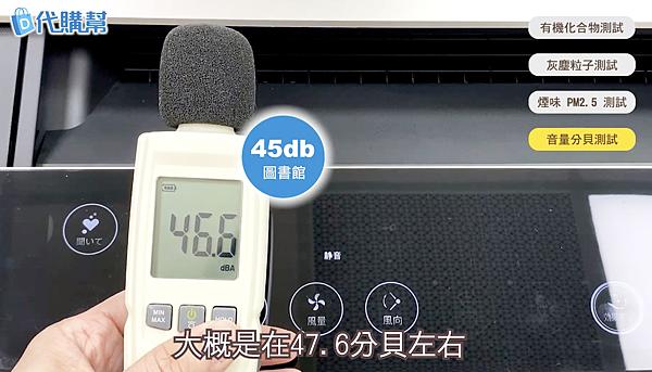 Sharp夏普KI-JP100空氣清淨機,靜音時為46.6分貝