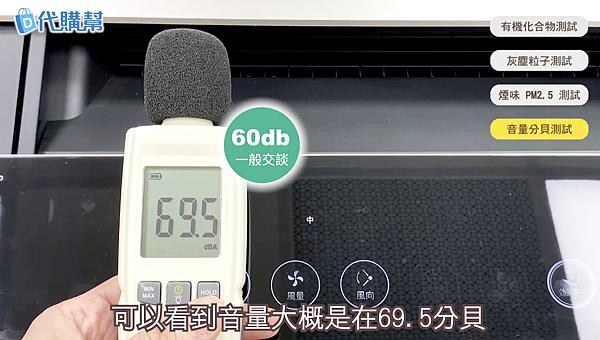 Sharp夏普KI-JP100空氣清淨機,風量中等時為69.5分貝