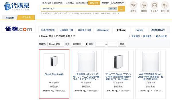 代購幫查詢日本Blueair空氣清淨機價格為台幣20633元