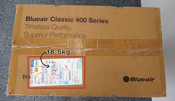 Blueair空氣清淨機重量為18.5公斤