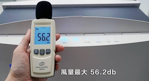 Blueair 空氣清淨機風量最大的時候,噪音分貝約為56.2db