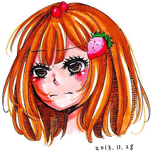 不開心的草莓女生